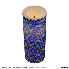 Colorful Blue Yellow Abstract Pattern Flameless Candle