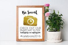 Be Social Snapchat Social Media Print Sign ~ Printable DIY Customisable Design ~ Wedding/Party/Birthday Signage ~ Gold Foil Camera Download