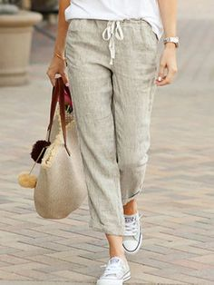 Capri Pants Outfits, Linen Pants Outfit, Summer Pants Outfits, Linen Pants Women, Linen Trousers, Casual Pants, Pants For Women, Cropped Trousers, Casual Outfits
