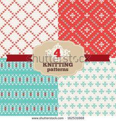 Set of knitting patterns - stock vector. Knitting ornaments.
