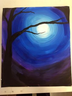 Winter night time sky for kids to paint with circles & shades of blue, purple, & black...simple & beautiful