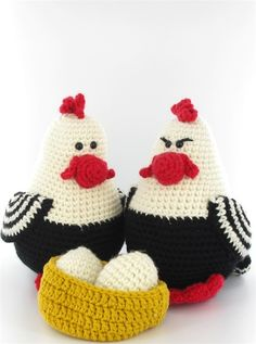 Chicken from Amigurumi & Crochet Birds, Easter Crochet, Crochet Toys, Knit Crochet, Crochet Projects, Craft Projects, Crochet Chicken, Crochet Accessories, Fiber Art