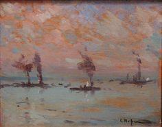 Eliseo Meifrén Roig. Barcos. Óleo sobre tabla. Firmado. 19 x 24 cm. Colección particular, Barcelona.