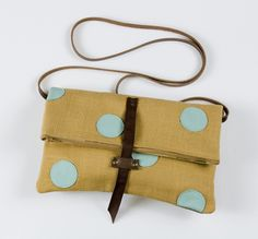 Made By Hank :: foldover crossbody bag with hand cut leather dots (caramel + sea glass))