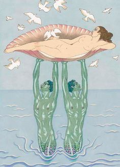 Illustration by George Barbier (1882-1932), Aphrodite, woodcut.