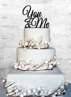 You & Me Wedding Cake topper by CoralMintDesign on Etsy, $17.00