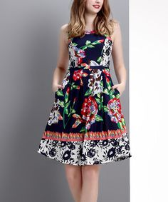 Loving this Navy & Red Floral Sleeveless Fit & Flare Dress on #zulily! #zulilyfinds