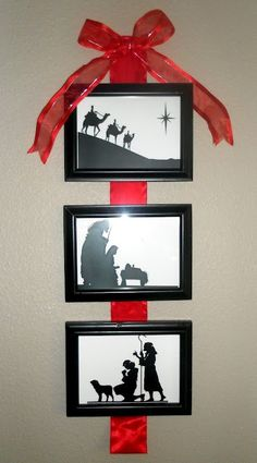 DIY 3 Pic Nativity Wall Hanging. This would make an awesome gift!