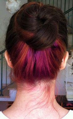 violet and copper under chocolate underlights hair Under Hair Dye, Under Hair Color, Hidden Hair Color, Hair Color Streaks, Hair Color Dark, Cool Hair Color, Hair Highlights, Blonde Color, Emo Hair