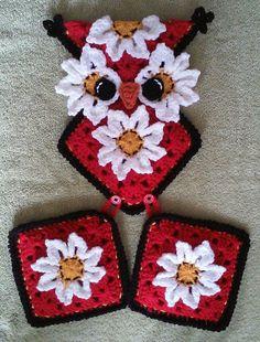 Crochet Owl Potholder Holder Pattern Only by 3ThreadinBettys