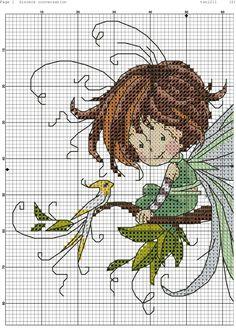 Green Fairy on branch 123 Cross Stitch, Cross Stitch Fairy, Small Cross Stitch, Cross Stitch Cards, Beaded Cross Stitch, Cross Stitch Flowers, Cross Stitching, Diy Bead Embroidery, Cross Stitch Embroidery