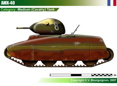 AMX-40 Cavalry Tank Military Weapons, Military Art, Military History, Heavy And Light, Tank Destroyer, Tank Design, French Army, World Of Tanks, Ww2 Tanks