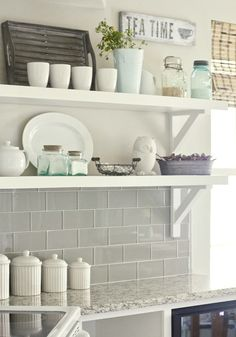 Gray Glass Tile Backsplash - Transitional - kitchen - Valspar Tranquil - Jenna Sue Design