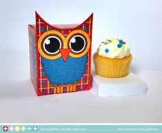 Owl Birthday Favor Box - Gift Box for cupcake/treat/gift cards - Printable PDF kit - INSTANT download