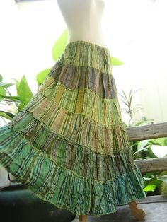 Woven Dyed Cotton Long Tiered Skirt  BB03146 by fantasyclothes, $49.00