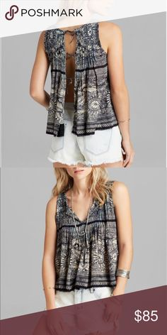 Free People myna tie back printed tank So stinkin cute! Open to offers! Free People Tops Tank Tops