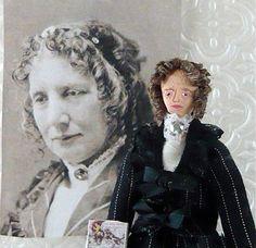 Harriet Beecher Stowe Doll Miniature Art Collectible via Etsy