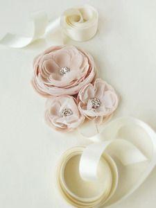 Hand cut, dyed and pressed silk chiffon petal sash in blush.