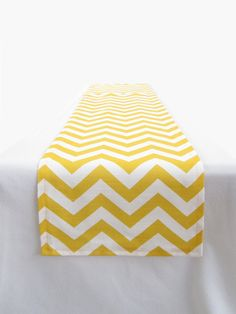 Yellow and White Chevron Table Runner - 11 x 72 in.. $20.00, via Etsy.