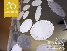 Learn how to make a unique photo booth backdrop using white and metallic paper doilies. Diy Photo Backdrop, Banner Backdrop, Photo Backdrops, White Backdrop, Wedding Show, Our Wedding, Wedding Ideas, Doily Wedding, Photos Booth