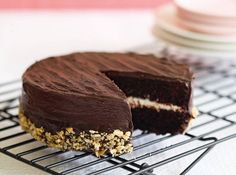This moist and tender chocolate layer cake is low in fat thanks to the use of yogurt and reduced-fat cream cheese.