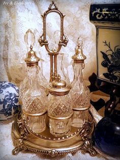 oil and vinigar-this crystal would even look wonderful on a dressing table or vanity in bathroom-lsm Victorian Home Decor, Victorian Kitchen, Vintage Antiques, Vintage Items, Condiment Sets, Crystal Decanter, Antique Perfume Bottles, Vintage Glassware, Vintage Beauty