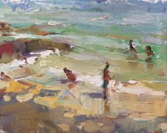 """New Blog Post: http://rosepleinair.com/seascape-painting-afternoon-light/ Seascape Plein air """"Water, Afternoon Light and Shades of Trees"""" Everything moves, the people, the light, the water, waves, the colors, shades. I love this about painting pleinair. I don't fear it. I embrace it. I think whenever you have the fear 'I can't do ... View More at: http://rosepleinair.com #Beachpainting, #Roosschuring, #SeascapePleinair, #SummerSeascape, #Zeegezi"""