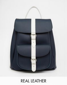 Grafea+Leather+Backpack+in+Navy+with+Contrast+Stripe