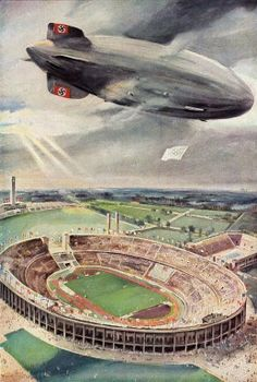 Origins of Hindenburg The astounding success of the Graf Zeppelin had proved the viability of long range passenger transportation by airship, and by the. 1936 Olympics, Berlin Olympics, Nazi Propaganda, Framed Prints, Canvas Prints, Art Graphique, Dieselpunk, Olympic Games, Travel Posters