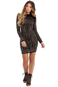 Corinne Black Stud Formal Dress | WindsorCloud