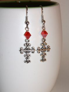 Cross Earrings Red Bicone Bead Gothic Style by JustAddJewelry, $9.00