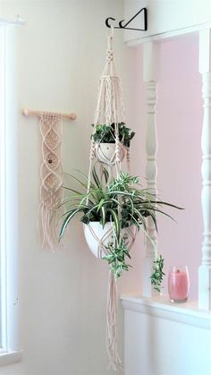 Indoor Planters - Indoor Plant Hanger - Macrame Planter - White Planter - White Plant Hanger - Indoor Plants - Macrame Plant Hanger - This cotton plant decor double plant hanger is handmade in my smoke free home and is made-to-order. Indoor Plant Hangers, Indoor Planters, Hanging Planters, Plants Indoor, Outdoor Plants, Air Plants, Diy Projects To Make And Sell, Tiered Planter, Cotton Plant