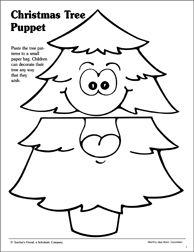 Christmas Tree Paper Bag Puppet Pattern Paper Bag Puppets Christmas Kindergarten Puppet Patterns