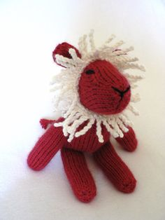 Handknit Cranberry Red Lion Toy by TailsandSnouts on Etsy