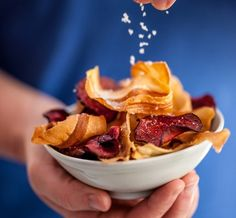 Recipes - Snacks, Sauces and Dips - Oven Baked Parsnip and Beetroot Crisps - Cornish Sea Salt Company Beetroot Crisps, Beetroot Recipes, Oven Baked Vegetables, Low Carb Recipes, Snack Recipes, Nibbles For Party, Vegetable Crisps