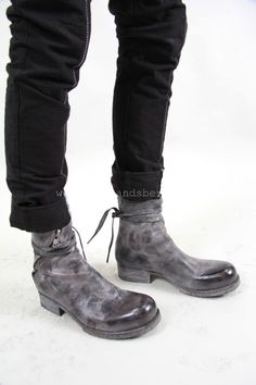 Obscur - waxed boot with spiral zip and ties Mens Shoes Boots, Men's Shoes, Shoe Boots, Dress Shoes, Keep Shoes, Me Too Shoes, Futuristic Shoes, Fashion Shoes, Mens Fashion