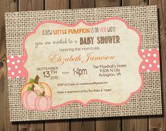 Pink Little Pumpkin Girl Baby Shower Invitations- DIY Printable Rustic Burlap Autumn Shower Invitations