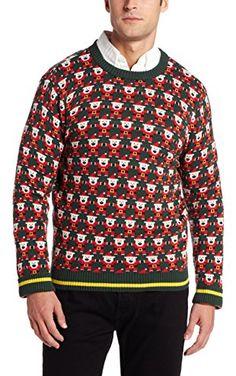Alex Stevens Men's 8 Bit Santa Holiday Sweater, Green Beret, Small ❤ Alex Stevens Men's Tops