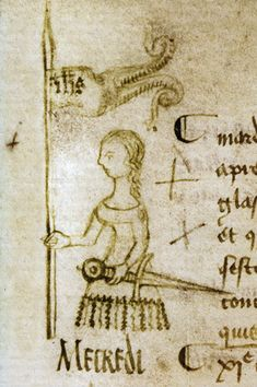 Seule représentation connue de Jeanne d'Arc faite de son vivant, en 1429. Il s'agit d'une vue d'artiste, son auteur, Clément de Fauquembergue, n'ayant jamais rencontré la Pucelle d'Orléans (en témoignent les attributs féminins: robe et cheveux longs).