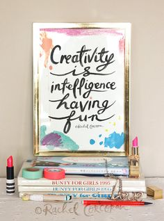 Creativity is Intelligence Having Fun - Typographic Print - Hand Lettering - Office Art - Einstein Quote - Colorful - Dorm Decor