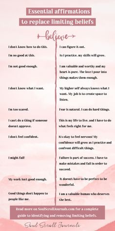 Limiting beliefs: A fool-proof guide to identifying and removing them – Soul Scroll Journals Positive Self Affirmations, Positive Affirmations Quotes, Affirmation Quotes, Positive Mindset, Affirmation Examples, Encouragement Quotes, Robert Kiyosaki, Tony Robbins, Mental And Emotional Health