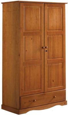PINE FURNITURE RICHMOND 2 DOOR STORAGE CUPBOARD CREAM//HONEY WAX NO FLATPACK