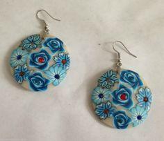 "Blue Flower Earrings Austrian Crystals Polymer Clay Hypoallergenic Hooks 2.5"" L #DavenportDesigns #DropDangle"