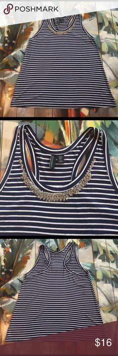 Cynthia Rowley Stripe Tank with Rhinestone Detail Cynthia Rowley Racerback Tank with Rhinestone Details. Size Medium, Navy and White Stripe. The perfect summer top for a nautical or patriotic look. Also looks great under a cardigan in cooler days! Cynthia Rowley Tops Tank Tops