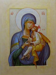 VIRGIN MARY, EGG TEMPERA ON WOOD, 30X40 CM. 2016 Byzantine Icons, Orthodox Icons, Sacred Art, Religious Art, Virgin Mary, Madonna, Worship, Drawings, Saints