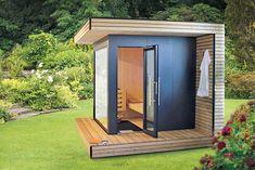 Sauna Design, Shed Design, Garden Design, House In The Woods, My House, Outdoor Sauna Kits, Modern Saunas, Outdoor Spaces, Outdoor Living