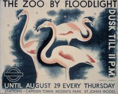 Vintage London Underground Posters On Exhibition For The Tube's Year - flamingos at London Zoo. Whit, look! Railway Posters, Travel Posters, Transport Posters, London Underground, Vintage London, Old London, Retro Vintage, London Transport Museum, Public Transport