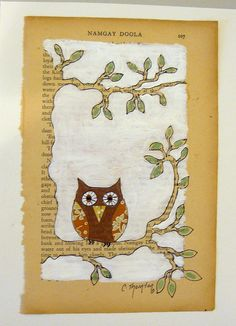 Owl Book page art - would do this with printed paper