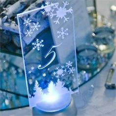 Glass Table Numbers With Snowflakes Winter Wedding IdeasWedding Reception