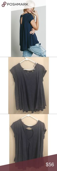 Free People Sylvia Tee Super oversized FP tee. Can fit anybody from a S-L. Love the washed look and keyhole back. Worn once. Free People Tops Tees - Short Sleeve